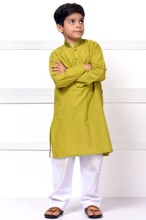 Ready to Wear Embroidered Kurta For Boys - Green - LB1605