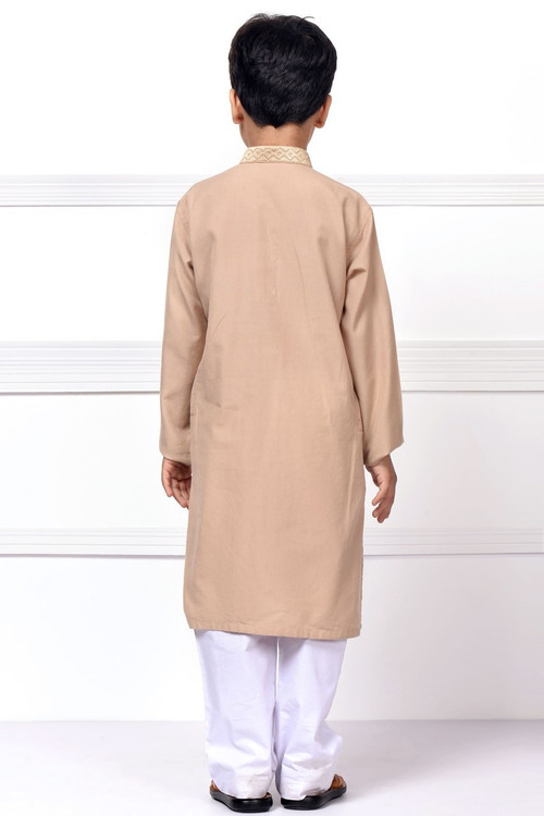 Ready to Wear Embroidered Kurta For Boys - Brown - LB1609