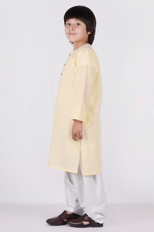 Ready to Wear Kurta For Boys - Yellow - LB1611