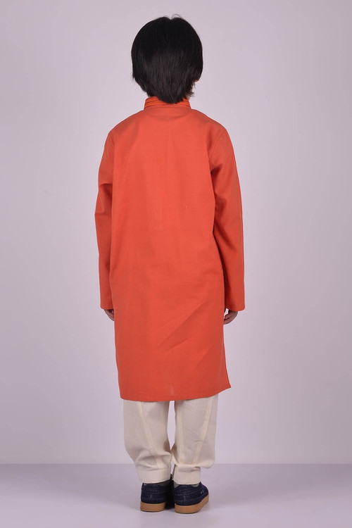 Ready to Wear Embroidered Kurta For Boys - Orange - LB1612