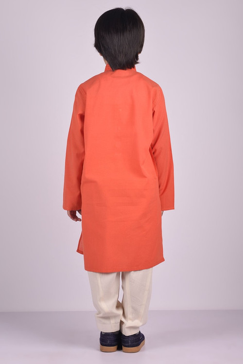 Ready to Wear Embroidered Kurta For Boys Orange Color - LC-BKE16602-Orange
