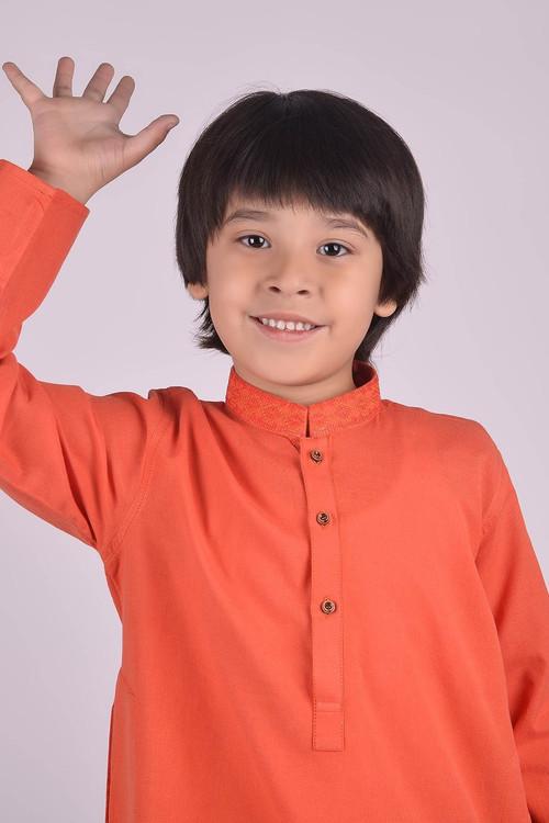 Ready to Wear Embroidered Kurta For Boys - Orange - LB1613