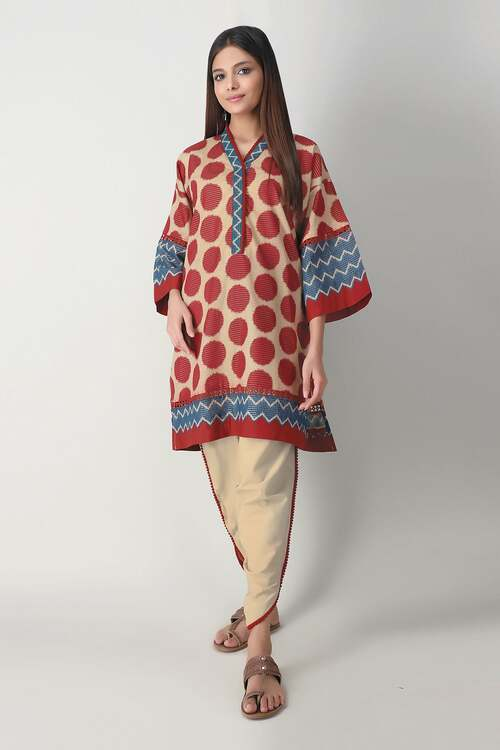 Khaadi 2 Piece Custom Stitched Suit - Beige - LB17146