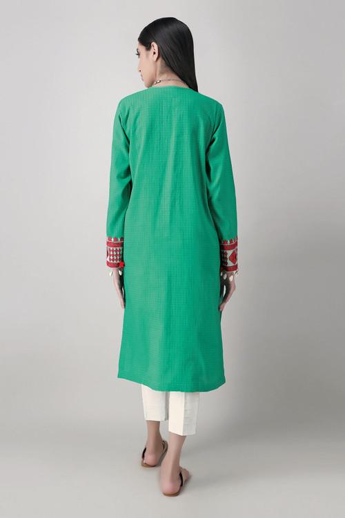 Khaadi 2 Piece Custom Stitched Suit - Green - LB17156