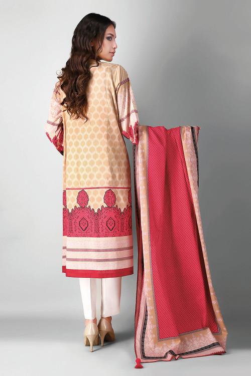 Khaadi 2 Piece Custom Stitched Suit - Beige - LB17161