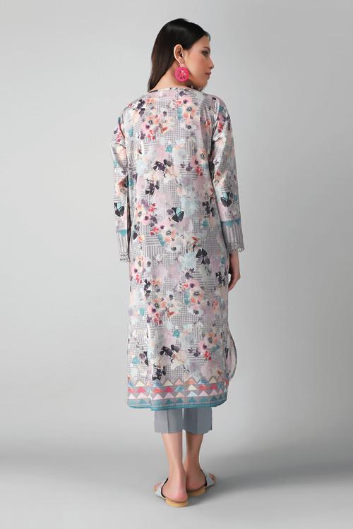 Khaadi 2 Piece Custom Stitched Suit - Grey - LB17174