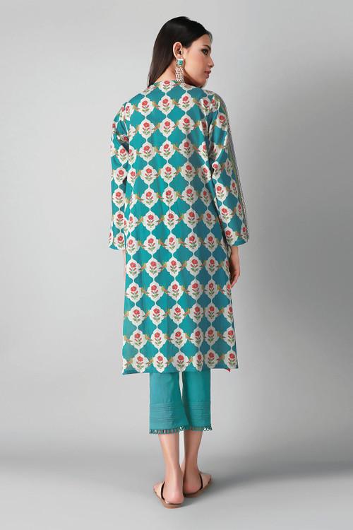 Khaadi 2 Piece Custom Stitched Suit - Green - LB17177