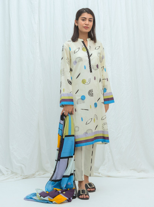 Beechtree 3 Piece Custom Stitched Suit - Off-White - LB17184