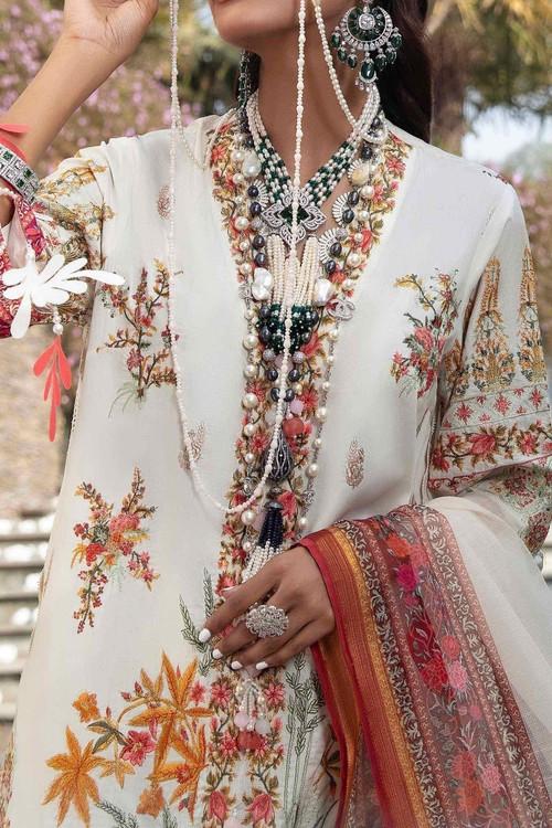Sana Safinaz 3 Piece Custom Stitched Suit - Off-White - LB17275