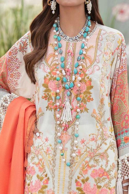 Sana Safinaz 3 Piece Custom Stitched Suit - Off-White - LB17281