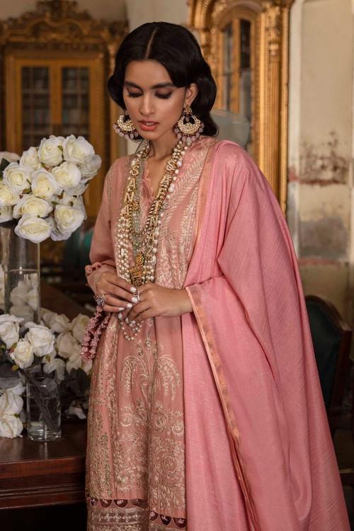 Sana Safinaz 3 Piece Custom Stitched Suit - Pink - LB17284
