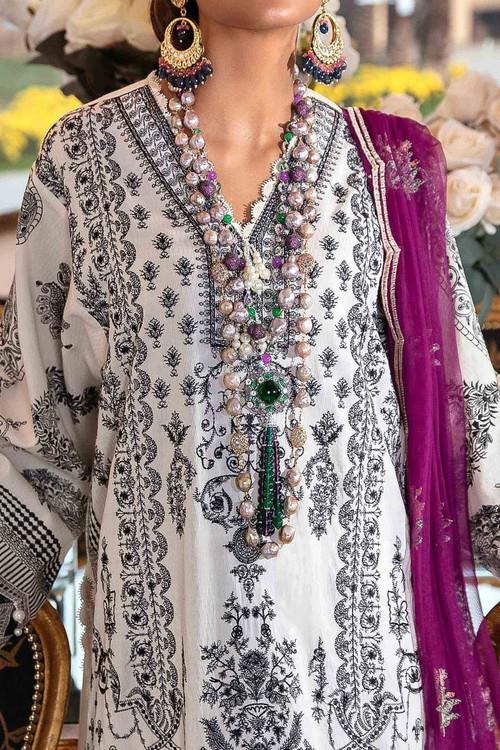 Sana Safinaz 3 Piece Custom Stitched Suit - Off-White - LB17287