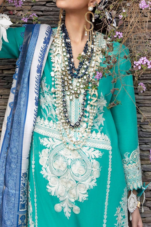 Sana Safinaz 3 Piece Custom Stitched Suit - Aqua - LB17288
