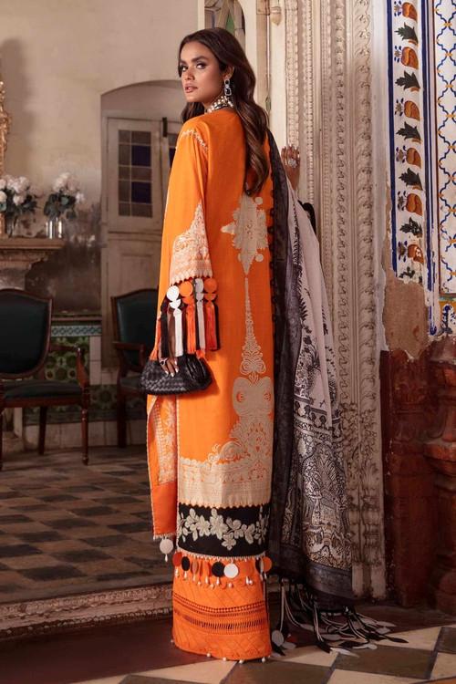 Sana Safinaz 3 Piece Custom Stitched Suit - Orange - LB17289