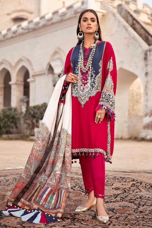 Sana Safinaz 3 Piece Custom Stitched Suit - Red - LB17294