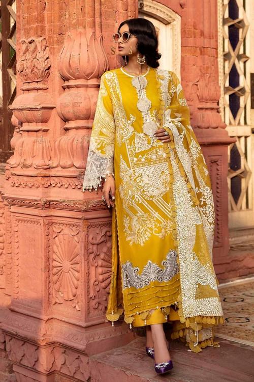 Sana Safinaz 3 Piece Custom Stitched Suit - Yellow - LB17298