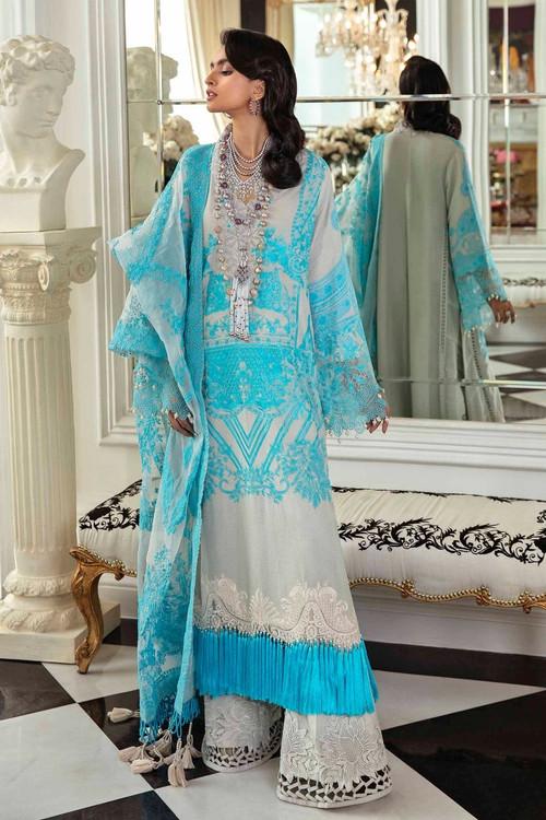 Sana Safinaz 3 Piece Custom Stitched Suit - Blue - LB17299