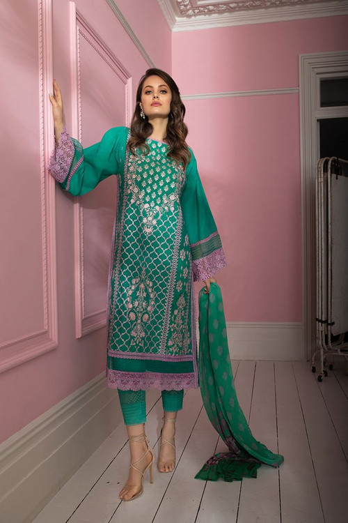 Sobia Nazir 3 Piece Custom Stitched Suit - Green - LB17303