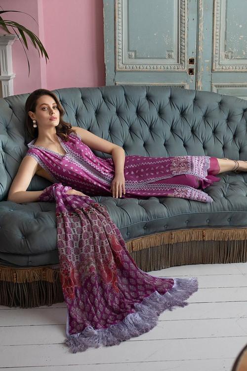 Sobia Nazir 3 Piece Custom Stitched Suit - Purple - LB17308