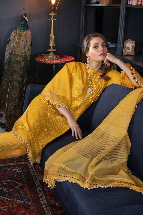 Sobia Nazir 3 Piece Custom Stitched Suit - Yellow - LB17315