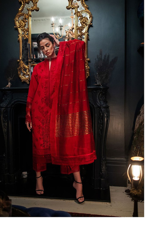 Sobia Nazir 3 Piece Custom Stitched Suit - Red - LB17316