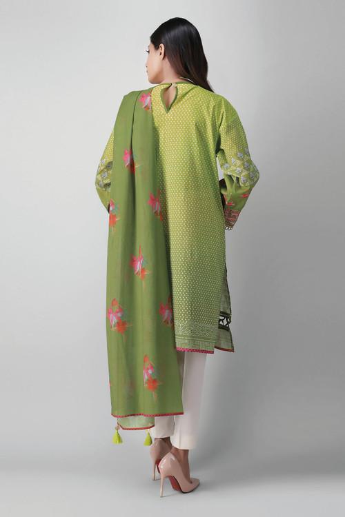 Khaadi 2 Piece Custom Stitched Suit - Green - LB17340