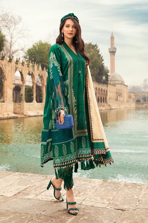 Maria B. 3 Piece Custom Stitched Suit - Green - LB17356