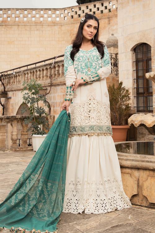 Maria B. 3 Piece Custom Stitched Suit - Off-White - LB17357