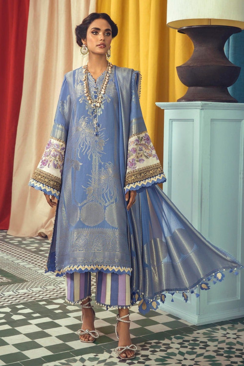Sana Safinaz 3 Piece Custom Stitched Suit - Blue - LB18970