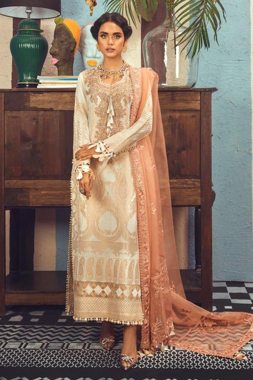 Sana Safinaz 3 Piece Custom Stitched Suit - Beige - LB18972