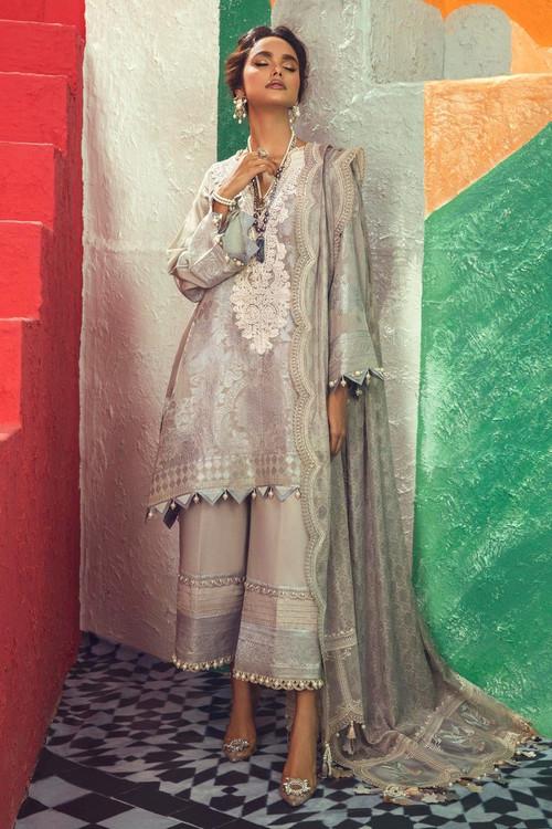 Sana Safinaz 3 Piece Custom Stitched Suit - Grey - LB18973