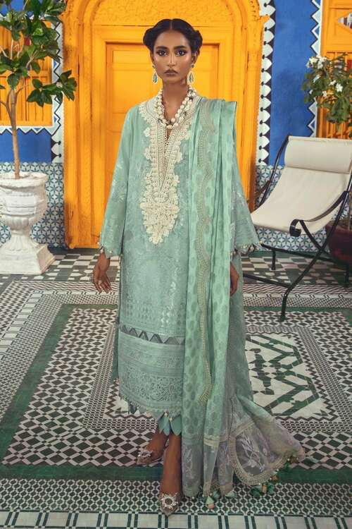 Sana Safinaz 3 Piece Custom Stitched Suit - Aqua - LB18974