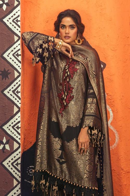 Sana Safinaz 3 Piece Custom Stitched Suit - Black - LB18977