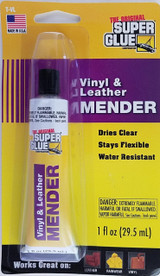 Super Glue Vinyl & Leather Adhesive Mender Clear Flexible Water Resistant 1 oz Tube