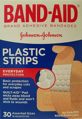 Band-Aid Plastic Strips Adhesive Bandages, Assorted Sizes 30 Ct/Box