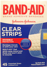 Band-Aid Clear Strips Adhesive Bandages Assorted Sizes 45 Ct/Box
