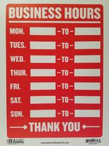 """'Business Hours' Sign Plastic 9"""" X 12"""" Indoor/Outdoor"""