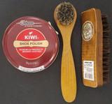 Kiwi Jumbo Brown Shoe Polish Cream, Horsehair Shine Brush & Dauber Kit, Select: Items