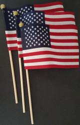 "American Mini-USA Flags 4""X6"" on 10"" Sticks w Gold Ball Top  3 Flags/Pk"