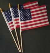 "American Mini-USA Flags 4""X6"" on 10"" Sticks w Gold Spear Tops 3 Flags/Pk"
