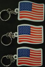 Patriotic American Flag Key Chains 3/Pk