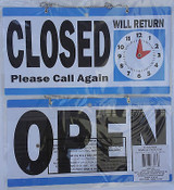 """Business Sign OPEN CLOSED with RETURN CLOCK Flip Store Signs 11.5"""" x 6"""""""