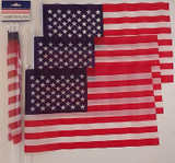"Patriotic Mini-USA Flags Polyester 12""x7"" On 13"" Sticks Old Glory BBQs Picnics C"