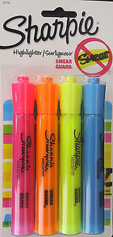 Sharpie Highlighters Smear Guard Chisel Tip 4-markers: Blue Orange, Pink Yellow