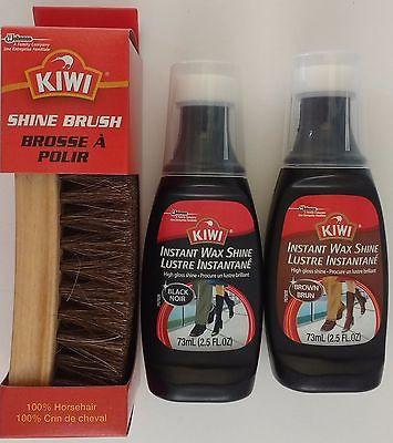 a5379a3fe5770 Kiwi Horsehair Shoe Brush & No-Buff Kiwi Instant Wax Shine Black Or Brown  Kit