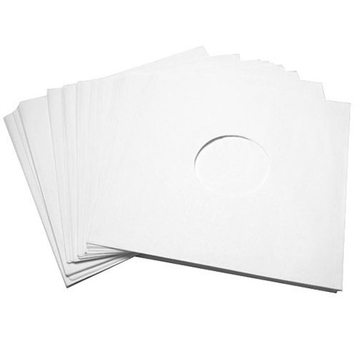 Replacement LP Outer Sleeves - White card with Label Hole (50)