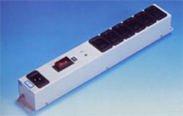 6 Way IEC C19 16A Sockets with Double Pole MCB Metal Clad Mains Distribution Block
