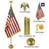 9' Gold Aluminum Pole Indoor Flag Set