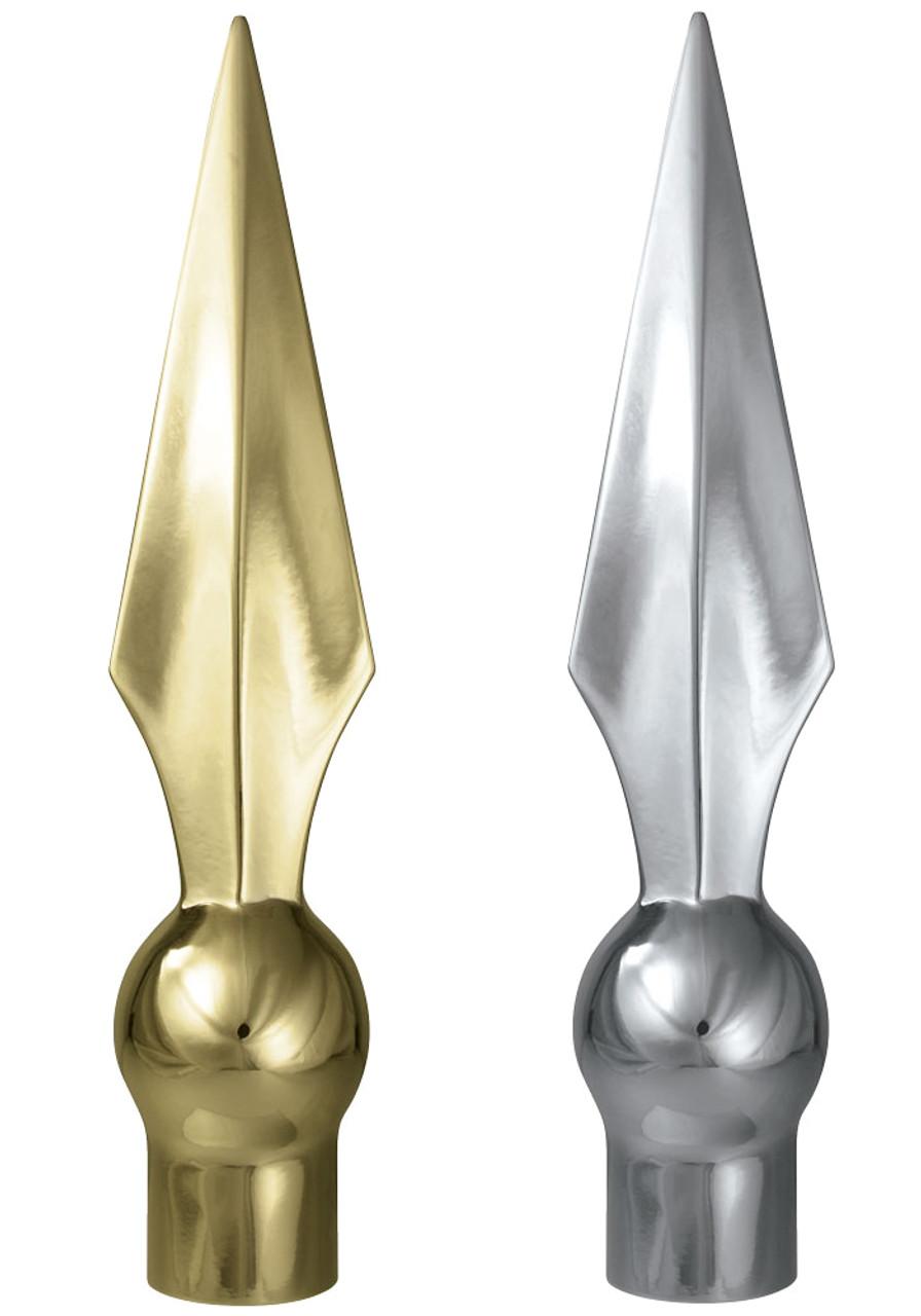 "SPEAR FLAGPOLE ORNAMENT HI-IMPACT ABS STYRENE GOLD 8/"""