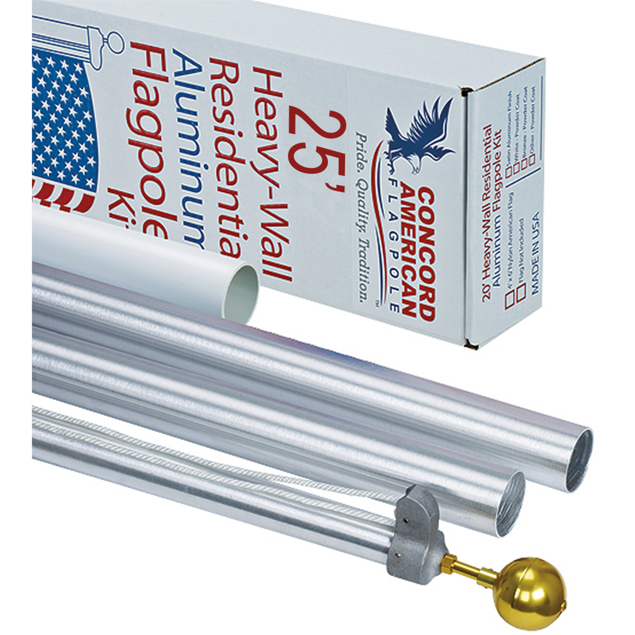 "25' x 3"" x .125 American Tradition Flagpole Kit"